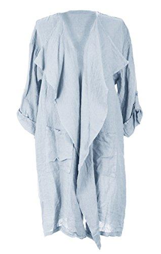 Mesdames Womens Lagenlook italienne excentrique cascade lin Plain Flap panneau veste Shrug Bolero Cardigan unique Taille Plus Bleu clair