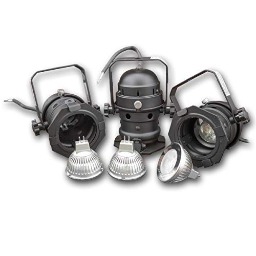 PAR16 KIT (3 x PAR 16 schwarz + 3 x 3W LED Leuchtmittel) - 30° Abstrahlwinkel - 12V (Warmweiss 3500K) - Par16-halogen-flood