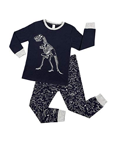 Kinder Dinosaurier Schlafanzug Jungen Lange Ärmel Pyjamas Dinosaurier Print Pajama Pjs Dunkelblau 18-24 Monate