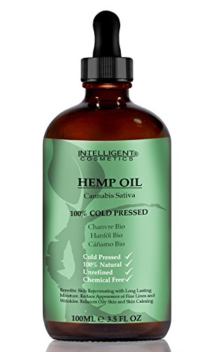 HEMP SEED OIL 100ML, 100% Cold Pressed Unrefined, Organic, Pure & Natural. Skin Care Facial Oil, Prevents Premature Ageing, Tightens & Shrinks Large Pores, Fights Acne , Balances Oily Skin