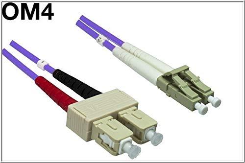 DINIC LWL Kabel OM4, 50µ, Patchkabel LC/SC Multimode Lichtwellenleiter (50m, violett) - 50-meter-fibre-kabel