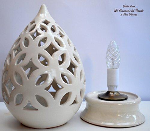 Lampada Da Tavolo Comodino Traforata Bianca Handmade Le Ceramiche Del Castello Made In Italy Le Ceramiche Del Castello Di Nina Palomba Casa Illuminazione Artigianato