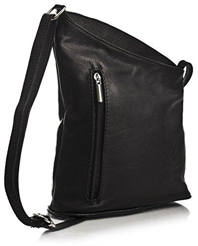 Big Handbag Shop kleine Damen Cross-Body-Umhängetasche aus echtem, weichem, italienischem Venenzi Leder (V114 Black) (Echtes Schuhe Italienische Leder)