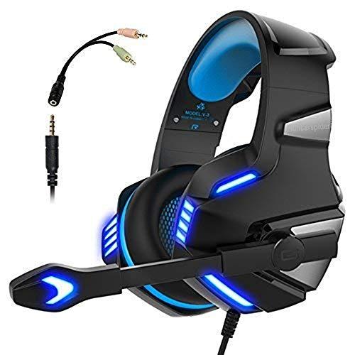 Gaming Headset für PS4 Xbox One,Stereo Sound Kopfhörer mit Rauschunterdrückung Mikrofon Lautstärkeregler über Ohr und LED-Licht für Laptop Tablet Mac One Size blau