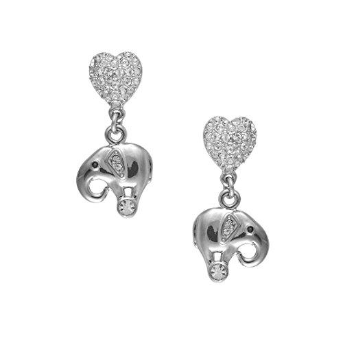 Cristalina tono plata de elefantes y corazones de cristal de Swarovski pendientes...