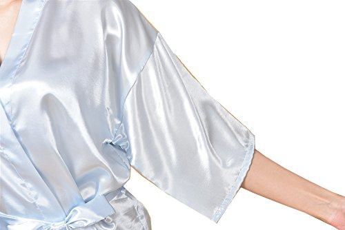Surenow Femme Robe de Chambre Kimono Satin Peignoir bleu clair