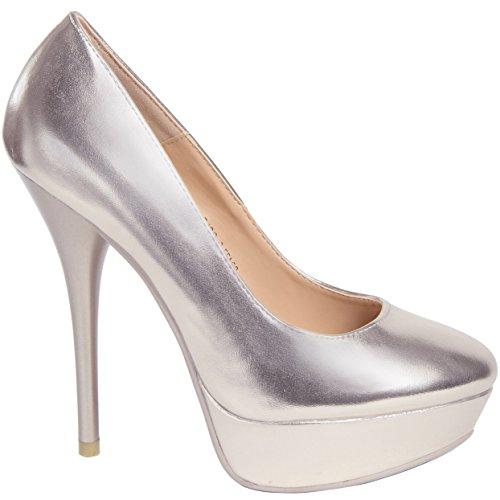 CASPAR - Escarpins à plateau/plateforme pour femme / Chaussures à talon / TAILLE PETIT : se référer au guide des tailles dans la description produit en bas de page - plusieurs coloris - SBU001 platine