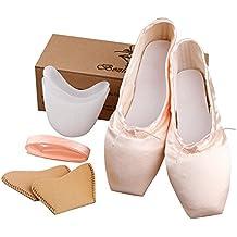 TXJ Donne Scarpe per Danza Classica Raso Pacchetto di 1 Paio di Pastiglie  Punta (Si ef1f8f8540d