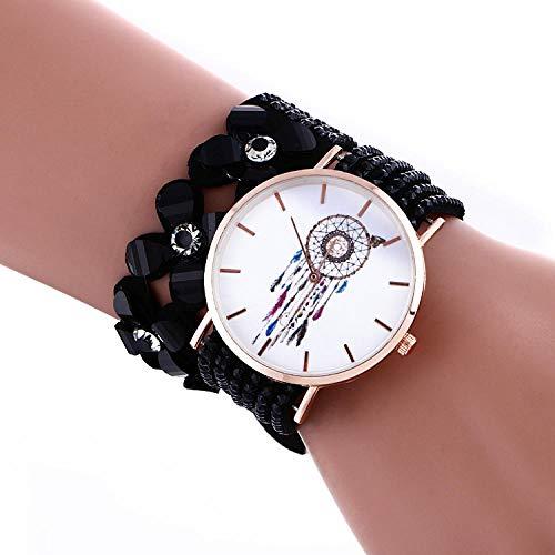 Reloj de Pulsera de Mujer Regalo Colorido en Forma de Flor Patrón de atrapasueños Reloj Casual Reloj de Pulsera de Bobina de Diamante Completo Femenino-Negro