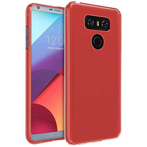 Tboc custodia gel tpu rossa per lg g6 h870 (5.7 pollici) in silicone ultra sottile e flessibile