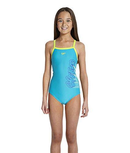Speedo Mädchen Badeanzug Placemant Muscleback Print, Farbe:Blau;Bitte Größe wählen:176