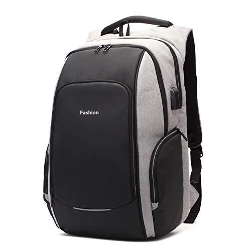 Xnuoyo Laptop Zaino Antifurto, 15,6 Pollici Resistente all'Acqua Zaino Porta PC con Porta USB di Ricarica Interfaccia Cuffie Zaino da Viaggio per Il Viaggio per Notebook da 12-15.6 Pollici, Grigio
