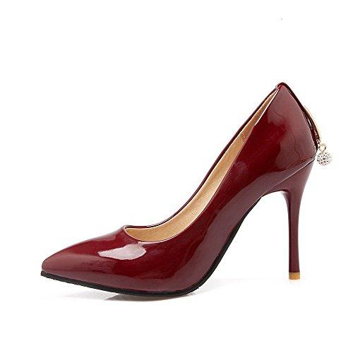 VogueZone009 Femme Tire Pu Cuir Pointu Stylet Chaussures Légeres Rouge Vineux