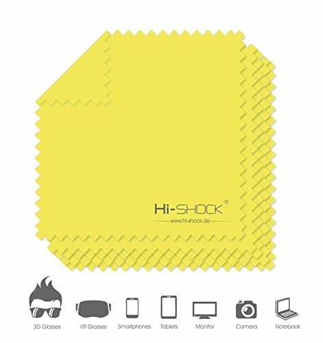 Hi-SHOCK® 5er Packung Mikrofasertücher 18x18 cm - Für die perfekte Reinigung aller hochsensiblen & glatten Oberflächen von 3D Brillen / Smartphones / Tablets [100% Mikrofaser | Farbe: gelb]