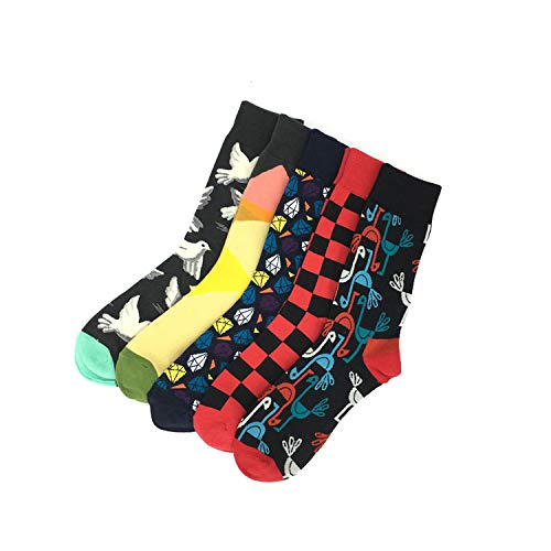 Mädchen Lustig Kostüm Pair - Lustige lässige Baumwollsocken, Crew Socke,5 Pair/Lot Men's Cool Colorful Fancy Novelty Funny Patterned Design Dress Socks Crazy Fashion Combed Cotton Happy Crew Socks Army green US 7.5-12 EU 40-46