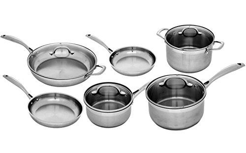 Swiss Diamond Premium PSL10SETSD1 Stainless 10 Piece Complete Kitchen Set, Gray Swiss Diamond 10