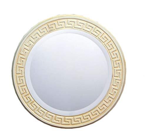 KARO DESIGN Spiegel MÄANDER Muster WANDSPIEGEL MIT FACETTENSCHLIFF 3D Relief 46,5CM IM Durchmesser Spiegel CA. 35CM Durchmesser