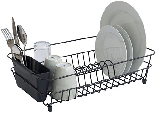 Bloomsbury Mill - Black Wire Dish Drainer - Plate Drying Rack with Cutlery Holder Basket - Anti-Rust