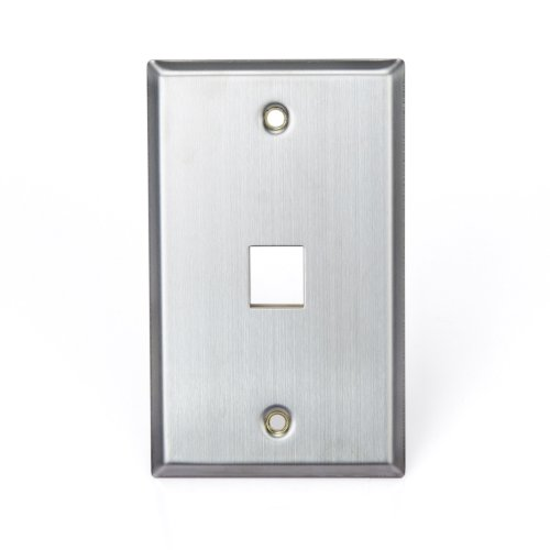 Leviton 43080-1S1 QuickPort Wallplate, Single Gang, 1-Port, Stainless Steel by Leviton Leviton Quickport Single
