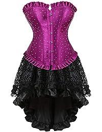 3033116c7433a HITSAN Fashion Womens Satin Rhinestone Corset Dress Set Vintage Gothic  Showgirl Plus Size Corset Bustier Tutu