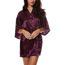 Avidlove Chemise de Nuit Femmes Sexy Robe de Nuit Manches Longues Peignoir Satin Elégant Taille M-XXL
