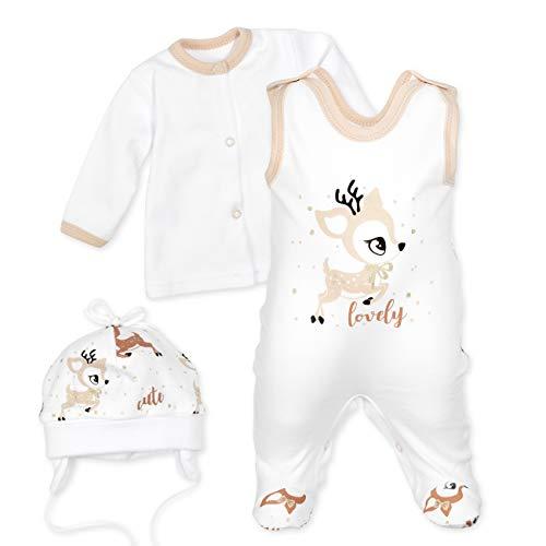 Baby Sweets Baby Set Strampler Shirt Mütze Unisex weiß beige braun | Motiv: Lovely Deer | Babyset 3 Teile für Neugeborene & Kleinkinder | Größe 6 Monate (68)...