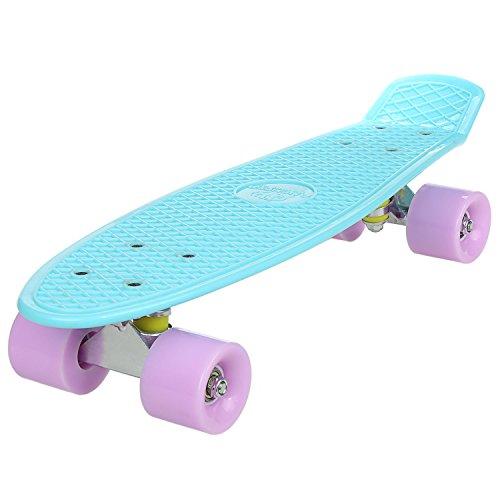WeSkate 57cm Mini Cruiser Board Skateboard mit stabilen Deck 4 PU-Rollen für Kinder, Jugendliche und Erwachsene