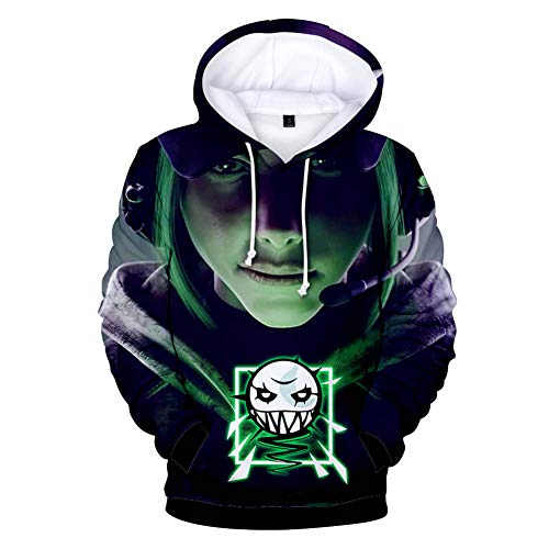 Qian Qian Unisex Cosplay Hoodie 3D Druck Pullover Sweatshirt Jacke Halloween Kostüm (L, 1)