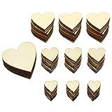 Hysagtek Lot de 160 cœurs plats vierges en bois pour mariage, Saint-Valentin, Noël, fabrication de cartes, loisirs créatifs (4 tailles)...
