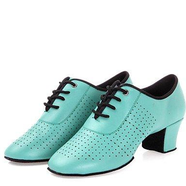 XIAMUO Latin Women's Dance Schuhe Heels atmungsaktivem Leder niedrigem Absatz Schwarz/Rot/Gold/Grün Grün