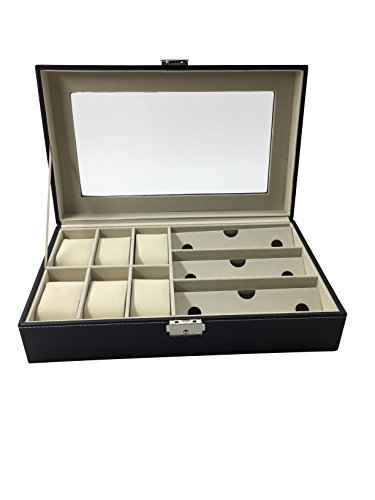 """1PLUS Uhren und Brillen Aufbewahrungsbox Uhrenbox Uhrenkoffer Uhrenkasten """"Genf"""" für 6 Uhren und 3 Brillen, braun"""