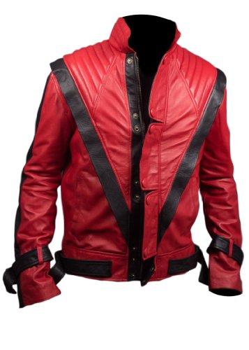 Thriller Kostüm Jackson Jacke M - Feather Skin Michael Jackson Thriller Faux Lederjacke in rot-m