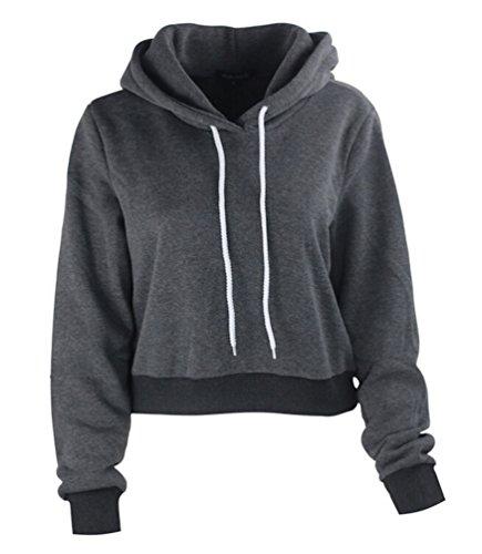 Ghope Femme Automne Hiver Col Haut Hoodie Jumper Capuche Sweats Shirt Top Manteau de Hoodie Pullover Outlet Courte Gris foncé