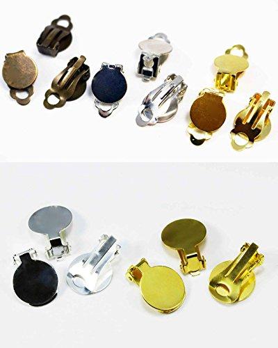 INWARIA Ohrclips Rohling Ohrklemme 10 Stück/5 Paar Ohrclip Ohrhaken, S18, 1-18 x 10 mm, Silberfarben