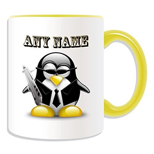 Personalisiertes Geschenk–Spy Agent Tasse (Pinguin in Kostüm Design Thema, Farbe Optionen)–alle Nachricht/Name auf Ihre einzigartige–Cool Gun 007, keramik, (Kostüme Kid Spy)
