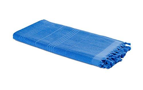 Carenesse Hamam-Tuch 2in1 blau, Handtuch und Hamamtuch in einem, 100{cadceadd76d350a0139a1dfe52c8ca91950572285e472877e514fe055c37c33b} Baumwolle, 90 x 190 cm, Fouta Pestemal, Saunatuch, Strandtuch, Badetuch, Turkish Towel