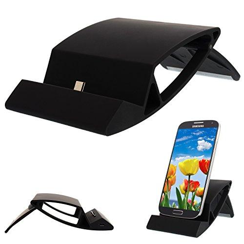 Universal Micro USB Schwarz Ladestation Docking Station Tischladestation Dock für Smartphone Handy und Tablet z.B. Samsung Galaxy S7 S7 Edge S6 Edge Plus | S6 | S6 Edge | S5 | S5 Active | S5 mini | S4 Active | S4 mini | S3 mini | S4 | S3 | Galaxy A3 A5 A7 auch 2016 | Galaxy Nexus, Sony Xperia Z3 Z2 Z1, HTC ONE M9 M8 M7 und mini, Nokia, Blackberry, LG, alle geräte mit Mikro USB Anschluss