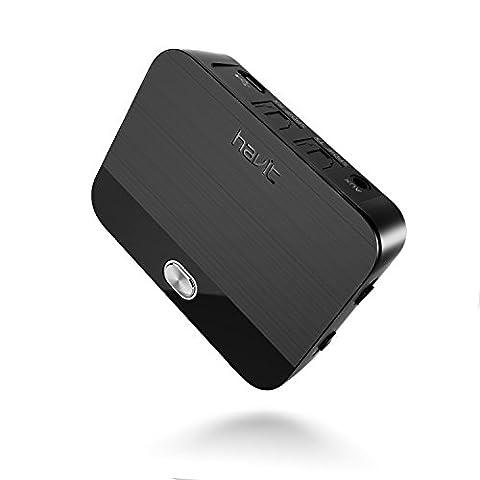 Bluetooth Transmitter, Adapter und Empfänger (aptX Low Latency), HAVIT 2-In-1 Bluetooth V4.1 Audio Sender und Receiver, digitales optisches Audiokabel TOSLINK und 3,5mm Klinkenstecker Stereo Kabel für TV, PC, Handy, Kopfhörer, Lautsprecher usw.