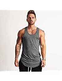 Chaleco Deportivo,Mens Secados Suelto Chaleco Sin Mangas, Gimnasio,Humedad Wicking Transpirable Suave Piel Gris-Friendly Sports Tank Top,para Aeróbic Footing Baloncesto Ciclismo Excursionismo Escala