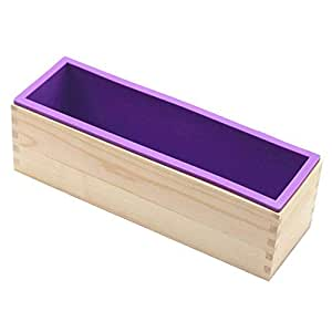 2x Rectangle Soap Silicone Loaf Mold with Wood Box for Cake Baking Toast
