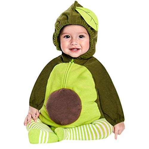 Sannysis Baby Jungen Mädchen Strampler Langarm Avocado Kostüm Dicker Warm Jumpsuit Kapuzenpullover Overall Unisex Kleidung Winter Mit Kapuze Fleece Schneeanzüge Outfits (90, Grün)