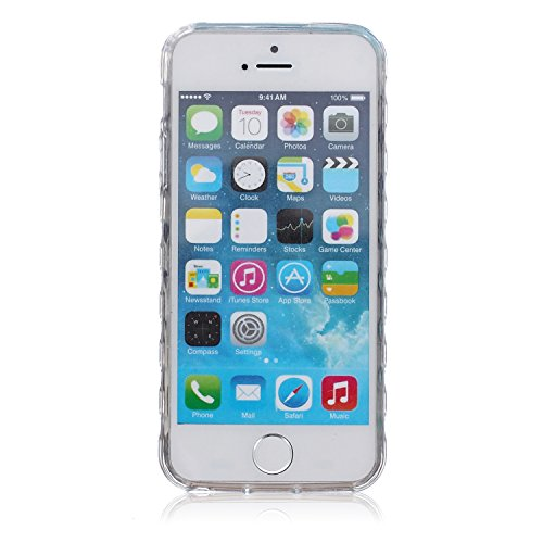 Voguecase® Per Apple iPhone 5 5G 5S, Custodia fit ultra sottile Silicone Morbido Flessibile TPU Custodia Case Cover Protettivo Skin Caso (Fiore pizzo) Con Stilo Penna Grigio piuma