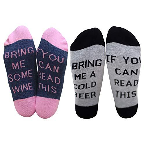 Chalier IF YOU CAN READ THIS BRING ME A GLASS OF WINE Socken Lustige Unisex Damen Mann Socken Neuheit Baumwolle Crew Socken