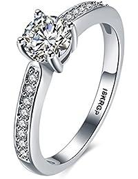 Amour Infini Bague de Fiançailles Femme Alliance Mariage Anneau Anniversaire 18K en Plaqué Or et Zirconium Cubique Diamant Idée Cadeau, 6-9