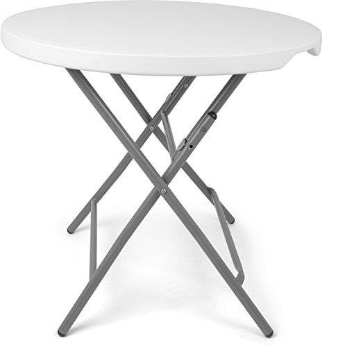 garten glastisch rund Vanage Gartentisch klappbar in runder Bistrotisch für Garten, Terrasse und Balkon, weiß, Maße: 80 x 80 x 74 cm