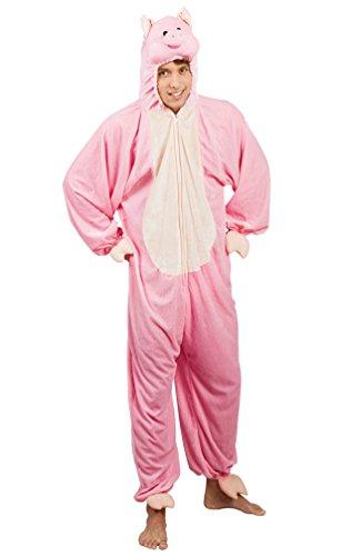 Karneval Klamotten Schwein-Kostüm Herren aus Plüsch Schwein-Overall Herren Karneval Tier-Kostüm Schweinchen Herren-Kostüm Einheitsgröße (Baby-schwein Halloween Kostüm)