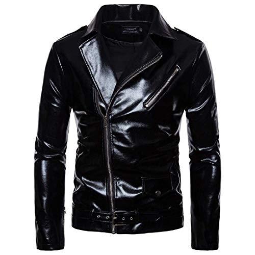 Mallfun giacca in pelle pu da uomo con cerniera in pelle sintetica lucida in similpelle cappotto casual outwear (color : black, size : l)