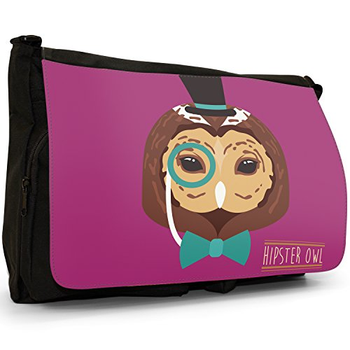 Hipster Bohemian animali grande borsa a tracolla Messenger Tela Nera, scuola/Borsa Per Laptop Hipster Bohemian Trendy Owl