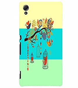 PrintVisa Corporate Print & Pattern Bird Cage 3D Hard Polycarbonate Designer Back Case Cover for Sony Xperia Z4
