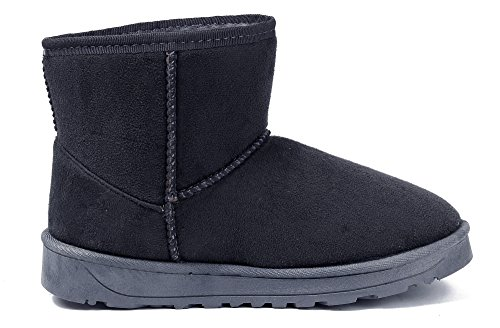 AgeeMi Shoes Femme Hiver Bottes à Enfiler Flat Suedé Talon Renforcé Classic Neige Bottes Gris Foncé